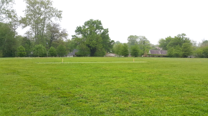 Freshly cut grass cricket field at Rockledge Elementary School.